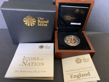 2013 Gold Proof £1 Coin England Floral Design
